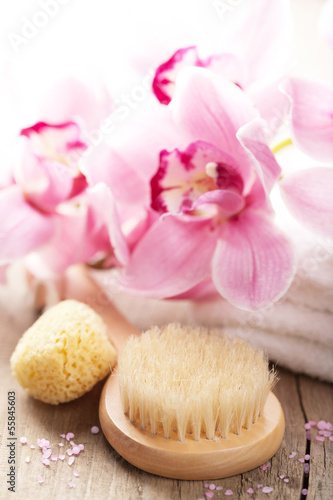 spa and bath set with orchid flower