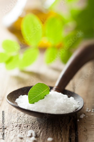 salt  in wooden spoon for spa