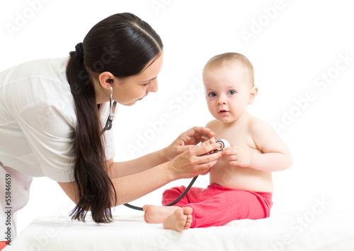 doctor examining baby girl isolated on white background