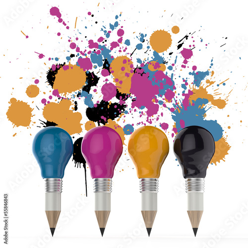 pencil lightbulb head in cmyk color as creative design concept o