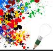 creative design business as pencil lightbulb 3d and splash color