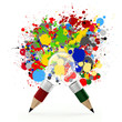 creative design business as pencil lightbulb 3d and splash color