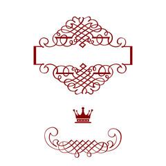 Elegant frame banner with crown, floral elements