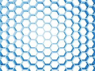 Blue honeycomb structure isolated on white