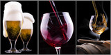 beer, wine, scotch isolated on a black