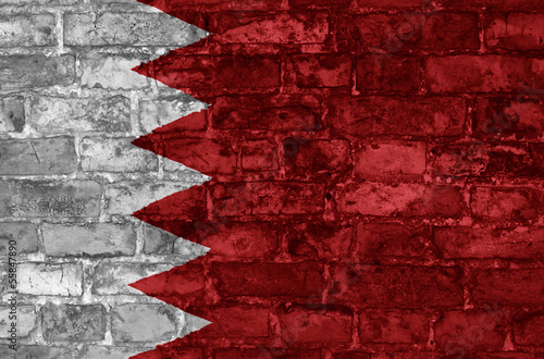 Grunge style wall with Bahrain flag graphic