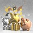 winner piggy bank and splash colors background