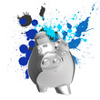winner piggy bank and splashing colors background