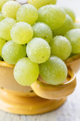 Green grapes with water drops