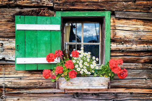 Window of an old wooden cabin