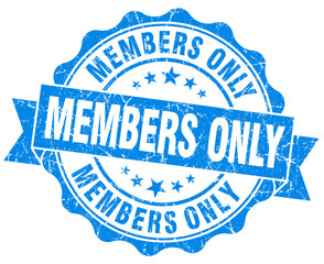 members only grunge blue isolated seal