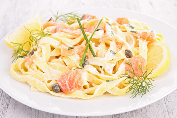 pasta with salmon,cream and dill