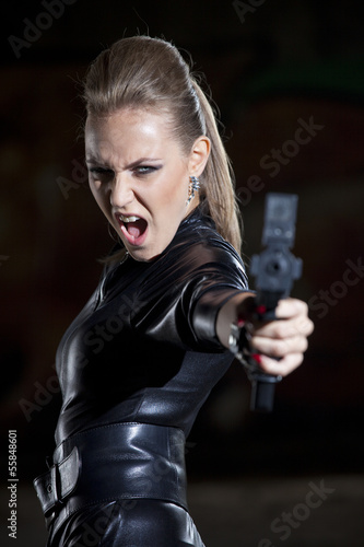 angry woman with gun