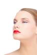 Sensual blonde model wearing red lips
