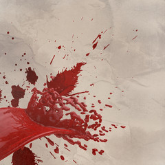 3D paint red color splash isolated on wrinkled paper