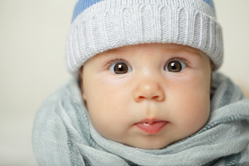 Cute baby, face closeup, portrait