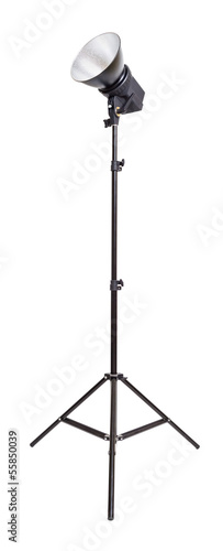 Studio monoblock flash light isolated on white