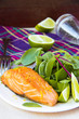 Grilled fillet of red salmon and salad with green leaves of lett