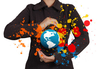 businesswoman shows the earth and splash colors