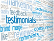 TESTIMONIALS Tag Cloud (satisfaction survey users consumers)