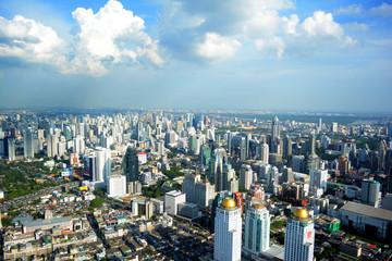 A birds'-eye view of Bangkok city skyline
