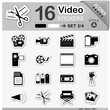 Icons, Set, Video, Symbole, Multimedia, Sticker, Zeichen, Kamera