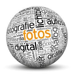 Kugel, Fotos, Fotografie, Wörter, Textur, TagCloud, beschriftet