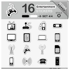 Icons, Set, Entertainment, Symbole, Multimedia, Sticker, Zeichen