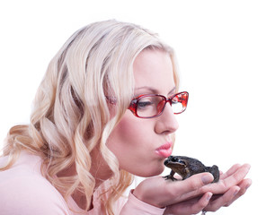 Kissing a real frog