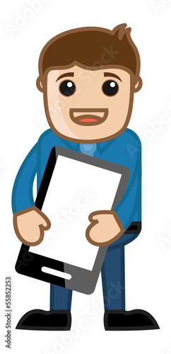 Man Holding Mobile Phone Tablet - Cartoon Business Character