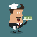 Businessman holding a tray with money, Business concept