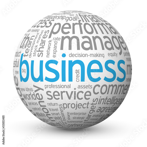 """BUSINESS"" Tag Cloud Globe (strategy finance profit success b2b)"