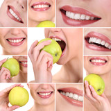 Collage of  woman mouth with healthy teeth