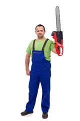 Proud construction worker with chainsaw