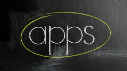 Apps Handwritten With White Chalk On A Blackboard