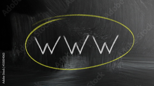 www handwritten with white chalk on a blackboard