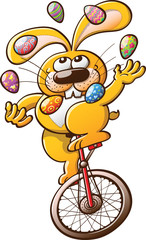 Yellow rabbit juggling Easter eggs and riding an unicycle