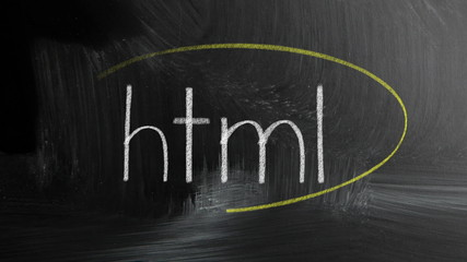 Html Sign Written With Chalk On Blackboard