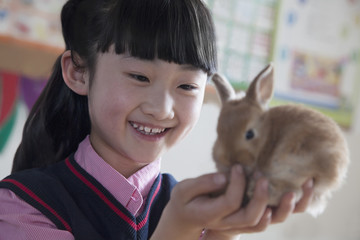 Schoolgirl holding pet rabbit in classroom