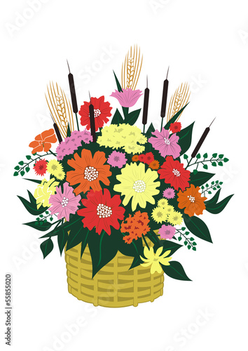 Illustration of basket of abstract flowers