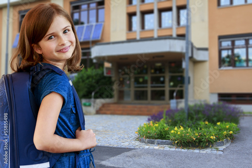 Back to school - portrait of  lovely schoolgirl