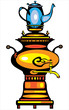 color illustration samovar on white background
