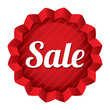 Sale price tag. Vector red round star sticker.