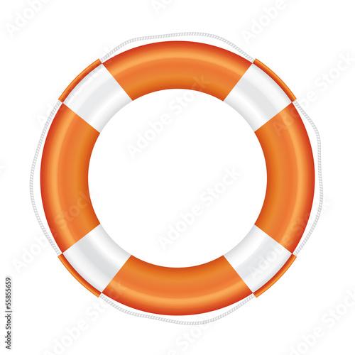 Orange lifebuoy with white stripes and rope. - 55855659