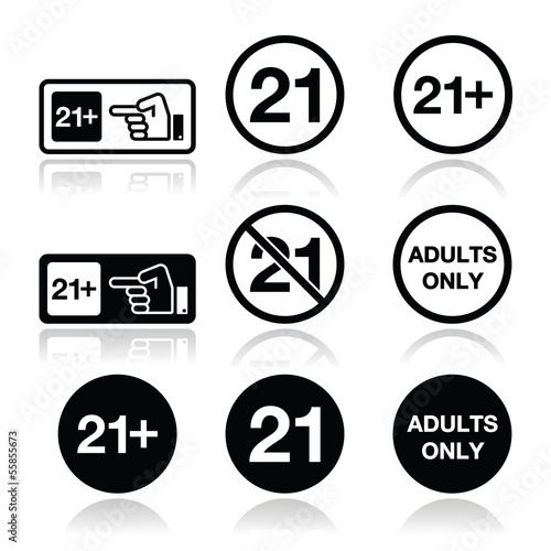 Under 21, adults only warning sign