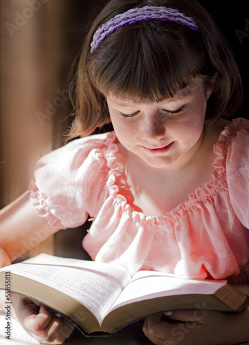 Beautiful Girl Reading Holy Bible