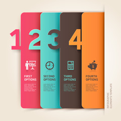Modern business infographics number options template.