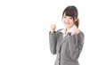 young businesswoman cheering on white background