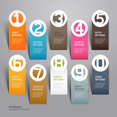 Abstract business paper cut infographics number template.