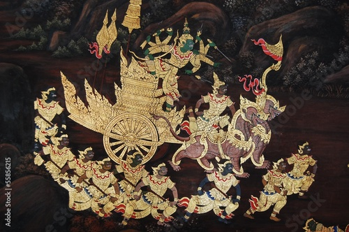 Mural about Ramayana Literature in Thailand's king palace